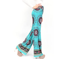 Valencia Turquoise Printed Palazzo Pants