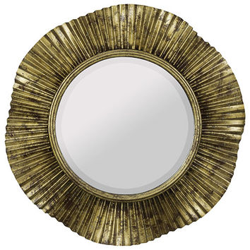 Cooper Classics 40724 Robin Antique Gold and Black Round Beveled Mirror