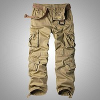 Mens Cargo Pants With Pockets Cotton Loose Casual Military Trousers Clothing Plus Size Harem Pants