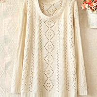 ROUND NECK LONG SLEEVE DIAMOND HOLLOW-OUT SWEATER