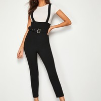 Wide Waistband Buckle Belted Pinafore Pants