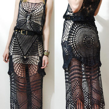 CROCHET DRESS Black Cobweb SPIDERWEB Lace Cotton Long Fringe Vintage vtg Bohemian Gypsy Goth Handmade ooak xs s m