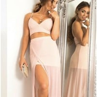 Summer Hot Sale Women's Fashion V-neck Pink Sexy One Piece Dress [11132252871]