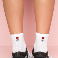 Rose Embroidery Socks - Socks - Accessories