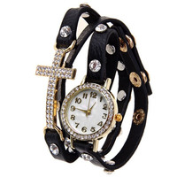 Black Rhinestone Statement Quartz Watch with Cross Design