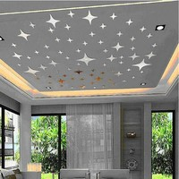 2017 New 43pcs Twinkle Stars Ceiling Decoration Crystal Reflective DIY Mirror Effect 3D Wall Stickers Home TV Background Decor