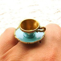 Kawaii Cute Japanese Ring Turquoise Teacup And by SouZouCreations