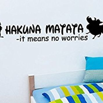 Wall Decal Vinyl Sticker Decals Art Decor Design Sign Quote Hakuna Matata Timon Pumba Kids Lion King Bedroom Dorm Nursery (r1041)