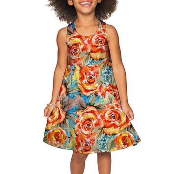 Fox Sanibel Yellow Flower Pattern Empire Dress - Girls