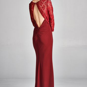 LACE BATEAU NECKLINE OPEN BACK MOTHER OF THE BRIDE FORMAL DRESS