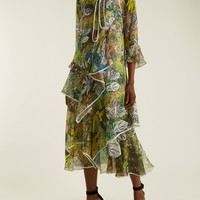 Floral-print ruffled silk-georgette midi dress | Peter Pilotto | MATCHESFASHION.COM US
