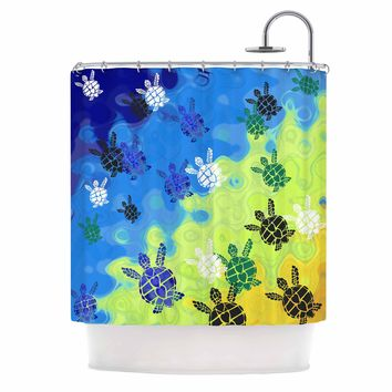 "Catherine Holcombe ""Ocean Freedom"" Blue Green Coastal Animals Mixed Media Illustration Shower Curtain"