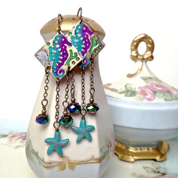 Brass seahorse earrings, purple and blue seahorse earrings, starfish earrings, sea life earrings, chandelier earrings, summer jewelry