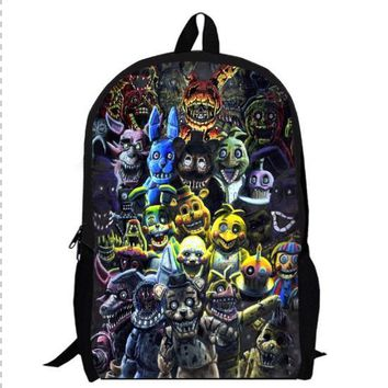 13inch game anime backpack double layer children Freddy Chica Foxy Bonnie School bag custom made men