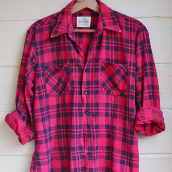 Vintage Plaid Flannel Shirt Mens Medium Flannel Shirt Red and Black Flannel