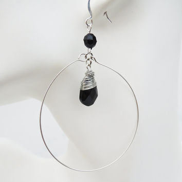 Black and Silver Dangle Hoop Earrings Handmade by Lindsey - Wire Wrapped Black Tear Drop Beads - Silver Memory Wire - Christmas Gift