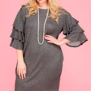 Women's Plus French Terry Shift Dress with Tiered Bell Sleeves