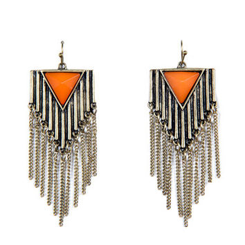 Ridged Fringe Earrings - Orange
