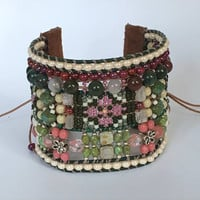 MONETs GARDEN, Artisan Bracelet, Beaded Leather Bracelet, Beaded Cuff, Floral Tapestry, Intricate Loomed Bracelet, Twinkling Of An Eye, OOAK