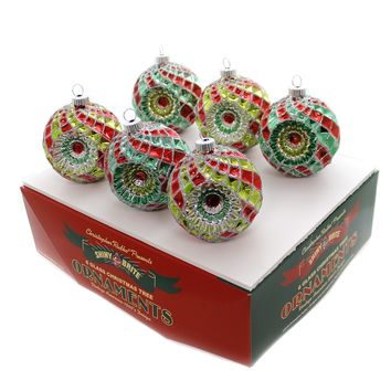 Shiny Brite HS DEC. ROUNDS W/REFLECTORS Glass Red Green Silver 4027569