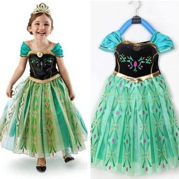 Hot Selling Halloween Girls Kids Princess Elsa Anna Cosplay Party Gown Fancy Dress Costume