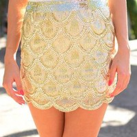 Gold Sequin Scalloped Skirt with Fixed Waist&Side Zipper