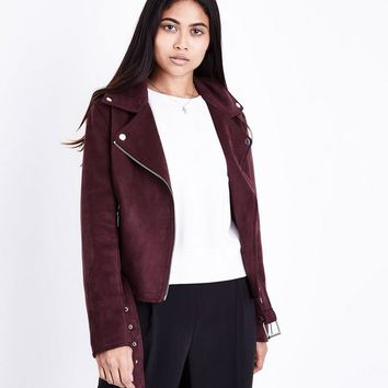Petite Burgundy Suedette Biker Jacket | New Look