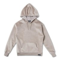 Bonded Velour Hoodie in Crème – Pink+Dolphin