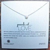 dogeared pearls... of love white pearl necklace in sterling silver