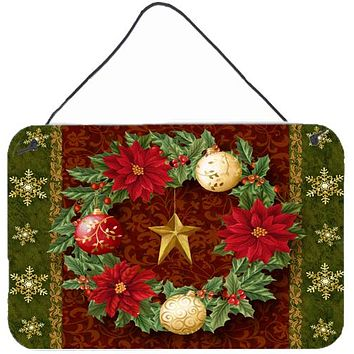 Holly Wreath with Christmas Ornaments Wall or Door Hanging Prints