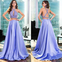 Lavender Two Piece Halter Prom Dresses