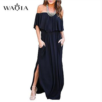 WAQIA Boho Style Long Dress Women Off Shoulder Beach Summer Dresses Solid Ruffles Vintage White Maxi Dress Vestidos de festa