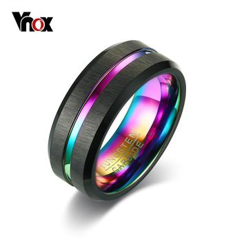 Vnox Men Thin Line Tungsten Ring Wedding Bands 8MM Tungsten Carbide Rings for Men Engagement Party Jewelry