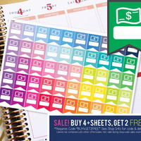 Bill Due Pay Day Money Flag Planner Stickers To Be Used With Erin Condren LifePlanner (ECLP), Happy Planner - 50 Stickers (#11005)