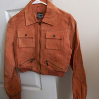 Vintage Copped Rusty Light Brown Leather Jacket Bomber In Good Condition Sz Jrs L