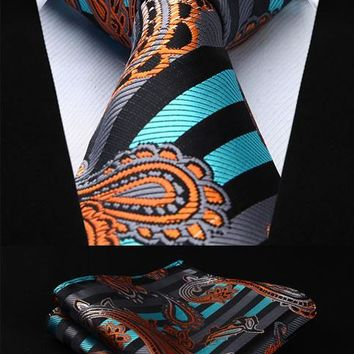 "Paisley Floral 3.4"" 100%Silk Wedding Jacquard Woven Men Tie Necktie Pocket Square Handkerchief Set Suit #RF1"