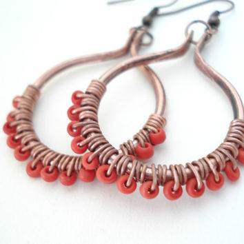 Boho Handmade Copper Hoops-Wirewrapped Coral Seed Beads- Recycled Copper Wire Earrings-Metalwork Unique Earrings- Boho Copper Earrings