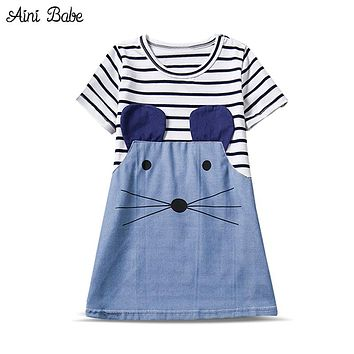 New Summer Girl Clothes Striped Character Little Mouse Girl Dresses Cute Children Clothing Toddler Girl Dress Kids Dresses Girl