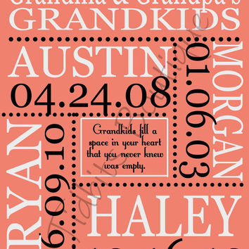 Custom Grandparents Print, Grandkids Print