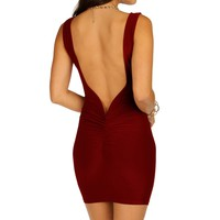 Sale-burgundy Gathered Back Short Dress