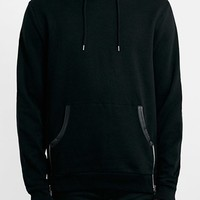 Men's Topman Black Pullover Hoodie with Faux Leather Trim