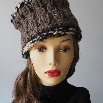 OOAK taupe knit hat / greige crochet hat / roll brim handmade hat / knit tall hat / womans warm hat / brown knit crown / earth tone cap