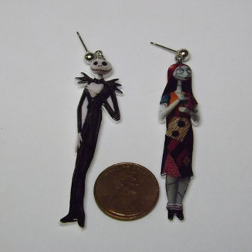 Nightmare Before Christmas earrings Jack and Sally jewelry jack skeleton earrings post earrings jewelry
