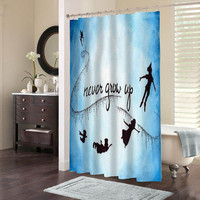 peter pan never grow up special custom shower curtains that will make your bathroom adorable.