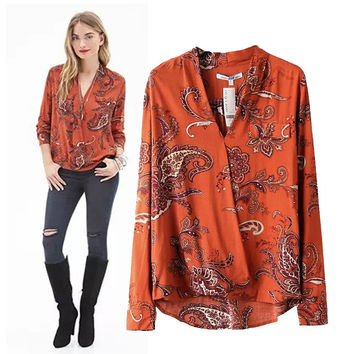 Stylish V-neck Long Sleeve Print Cotton Pullover Women's Fashion Tops Shirt [5013324356]