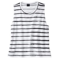 Juniors Striped Graphic Tank - White/Black