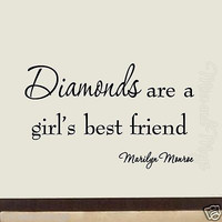 Diamonds Are a Girl's Best Friend Marilyn Monroe Wall Decal Vinyl Wall Art Quote