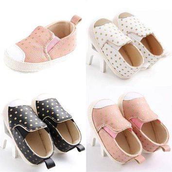 Newborn Baby Boy Girls PU Leather Sneakers Shoes Soft Sole Crib Shoes Prewalkers