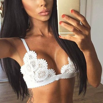 Sexy Cutout Lace Bra Shimmer Bralette Gage Brassiere Unlined Bralet Lounge Bralette Sexy Ladies Underwear Intimates