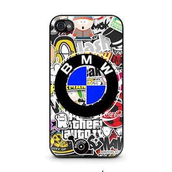 bmw sticker bomb iphone 4 4s case cover  number 1